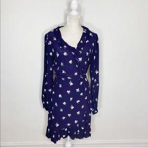 H&M floral long wide sleeve wrap dress